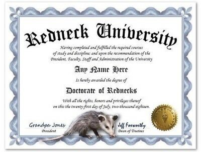 Redneck University Personalized Diploma w/ Gold Seal Opossum Novelty Funny Gag