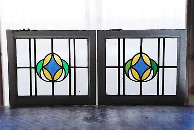 Pair of Antique Stained Glass Windows Three color Art Nouveau Diamond (3083)