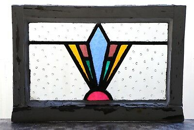 Antique Stained Glass Window Five (5) Color Fantastic Art Deco (3085)