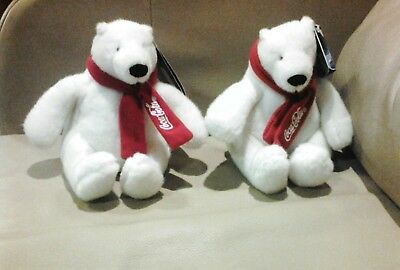 """Lot of 2  Coca-Cola 5"""" White polar bears  with Red Scarf"""