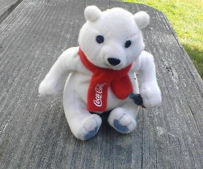 Coca-Cola plush bear with bottle red scarf