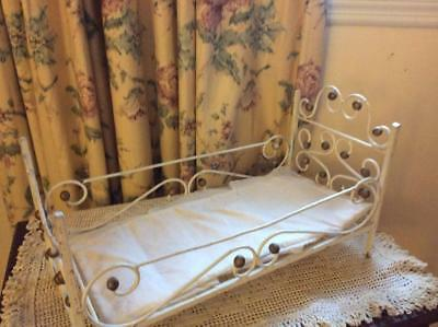 Antique Cast Iron & Brass Metal Doll  Bed