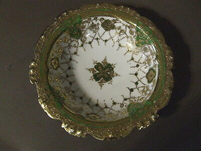 Vintage Nippon Hand Painted Gold Gilt Green Moriage Porcelain Bowl