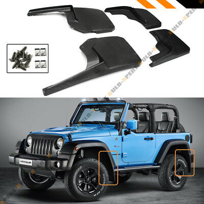 For Jeep Wrangler Mud Flaps 2007-18 JK JKU Splash Guards 4 Piece Front & Rear