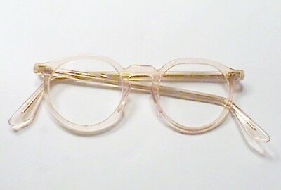 Great Vintage Bausch & Lomb 6 4420 Safety Glasses Coral Peach Horn Rim $1Nr
