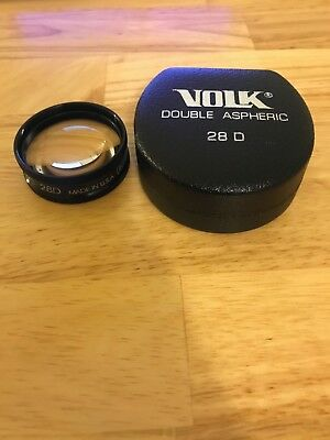 VOLK 28D (Diopter) Double Aspheric Ophthalmic Lens with Case - NEW