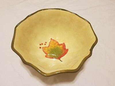 Fall Themed Ceramic Bowl - Fall Decor with Leaves - As Is - See Pictures