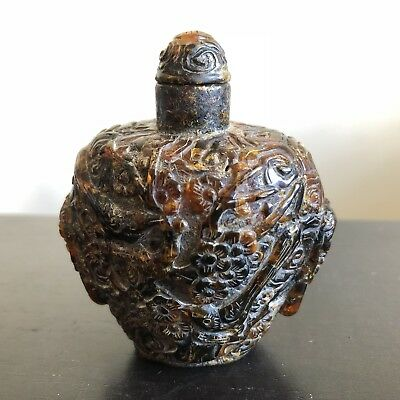 Fine Antique Qing Chinese Carved Natural Amber Snuff Bottle Scholar Art WOW
