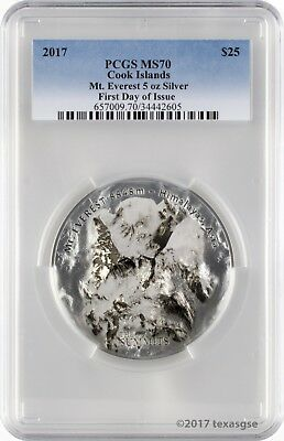 2017 $25 Cook Islands 7 Summits Everest 5oz .999 Silver Coin PCGSMS70 - FD