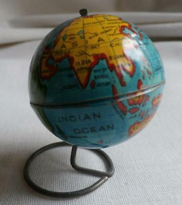 Antique Miniature Toy Tin World Globe ~ Excellent Condition