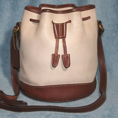 Coach 4238 Vintage Pebbled Leather Drawstring Bucket Handbag Cream and Brown