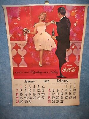 1962 Coca Cola Coke  Soda Pop Advertising Calendar Complete All 12 Months