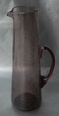 Large Crackle Glass Pitcher in Amethyst by Pilgrim Glass Company