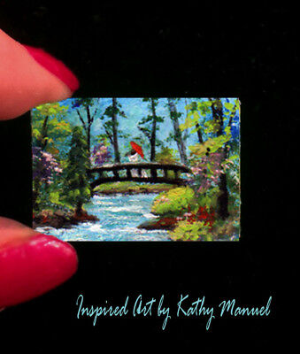 """Dollhouse Miniature Painting """"The Journey"""" 1:24 or 1:12 scale Water Garden"""