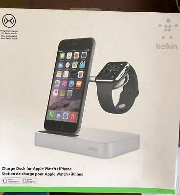 Official Belkin Valet Charge Dock for Apple Watch + iPhone - Black - Apple Excl.