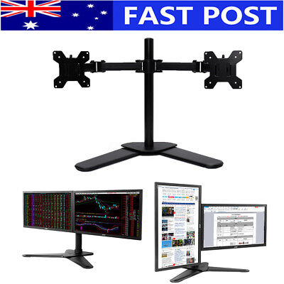 27'' Dual LED monitor stand LCD Screen TV PC Desk Mount Bracket 2 Arm Holder AU