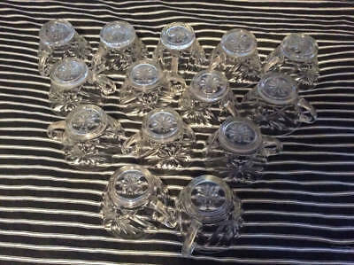 Set of 14 EAPC Star of David Punch Bowl Cups Clear Pressed Glass