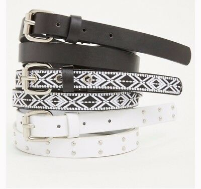 Torrid Belts Size 2 Black And White Tribal, Solid Black And White Silver Studded