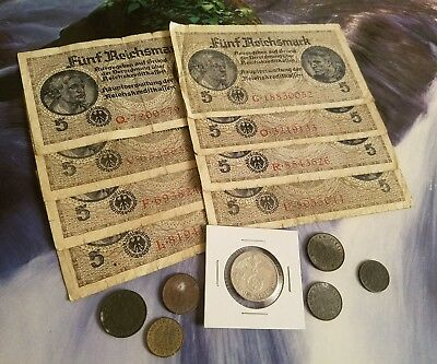 NAZI GERMANY RARE BANKNOTES/COINS - 16pc LOT - Vintage WWII Money Collection!!!