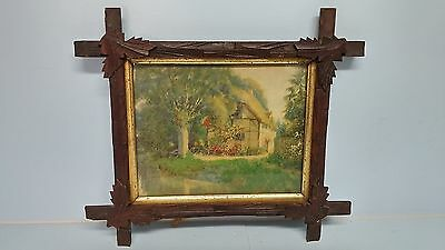 Antique Victorian Adirondack Square Wood Picture Frame w Carved Leaf Corners Old