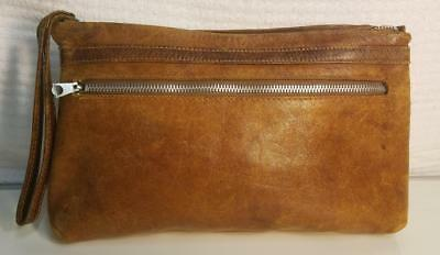 Vintage Made In Lebanon Lush Distressed Brown Leather Wristlet Clutch Handbag