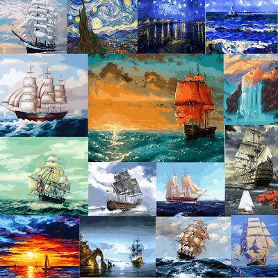 40x50'' DIY Paint By Number Kit On Canvas Oil Painting Wall Decor Ship Scenery