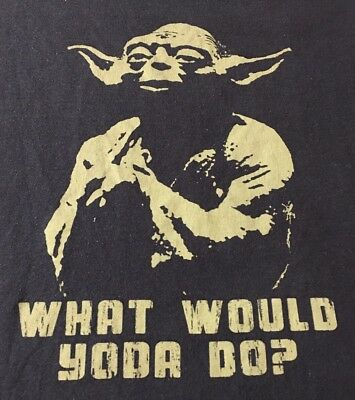 Star Wars What Would Yoda Do Black X-Large Short Sleeve Tee T-Shirt XL F1