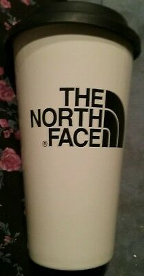 """North Face  White Ceramic Travel Mug Tumbler Cryptic With Rubber Cover 6"""" Tall"""