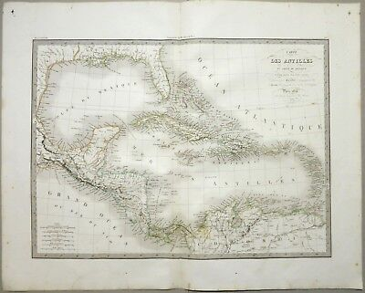 Central America Caribbean Antilles Cuba Mexico Florida 1833 Lapie Original Map