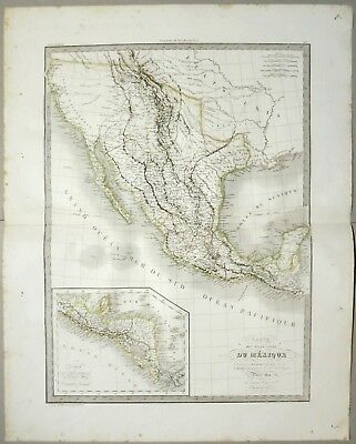 Mexico Central America California Texas Arizona 1833 Lapie Original Map