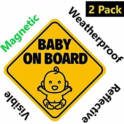 NEW DESIGN: Reflective And Magnetic Baby On Board Sign For Your Car Auto (2