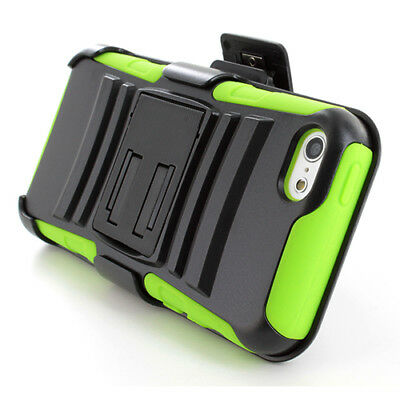 For Apple iPhone 5C Rugged Hybrid Phone Case Cover Belt Clip Holster Kickstand