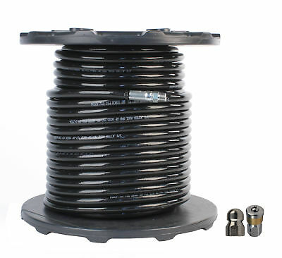 """Schieffer 3/8"""" x 200' 4000 PSI Thermoplastic Sewer Jetter Hose & 8.0 Nozzles"""