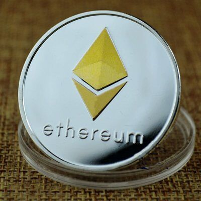 Silver Plated Commemorative Collectible Golden Iron ETH Ethereum Miner Coin Gift