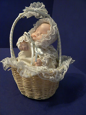 Musical Wind Up Baby Doll in A Basket