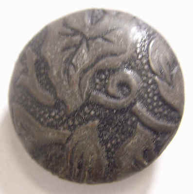 1800s antique metal picture button abstract floral plant type art 44189