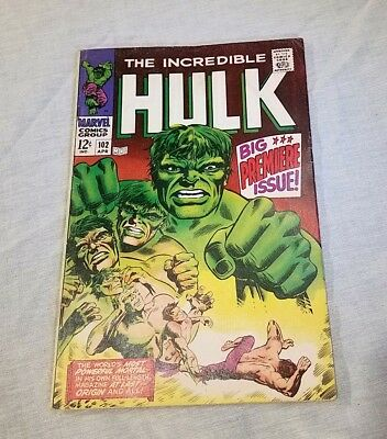 The Incredible HULK # 102  1968 first series start VG+