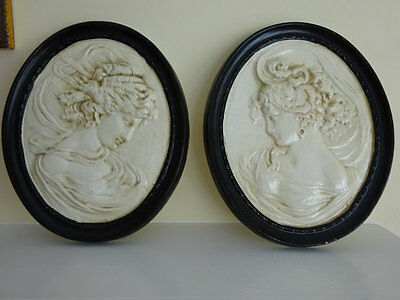 Vintage Pair of Ornate Plaster Black and White Cameo Plaques - Goddess Plaques