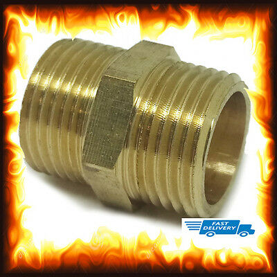 "Brass 3/8"" Inch 3 8 BSP Straight Male to Nipples Equal Connectors Repair Coupler"