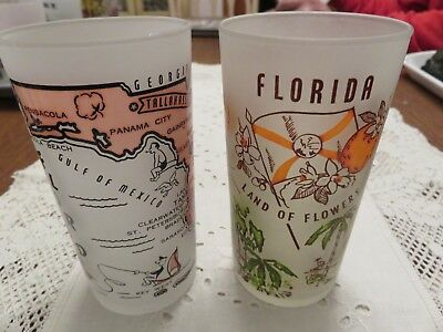 TWO Mid Century Florida Sunshine State Vintage Souvenir Frosted Glass Tumbler