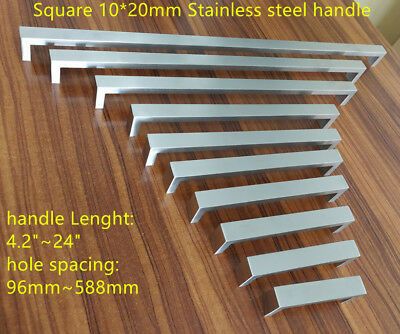 "10mm*20mm Brush Square Stainless Steel Kitchen Door Cabinet Handle 2""~24''"