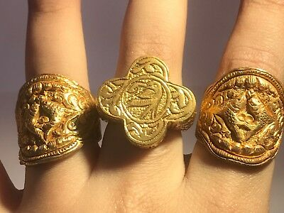 Rare 3 Antique Old Medieval silver Gold Gilding Stunning lovely ring