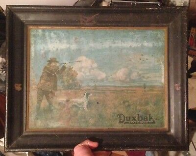 Antique Utica Duxbak Corp. Clothing Hunting Tin Sign