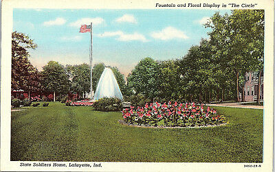 Lafayette, Indiana, State Soldiers Home, Fountain, The Circle - Postcard (Q)