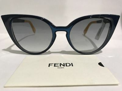 f8d6d3f0c71 FENDI FF 0136 S NY9JJ Blue Gold Sunglasses Made in Italy Authentic COA