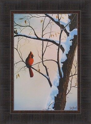WINTER COLORS by Jim Hansel Cardinal Song Bird 17x23 FRAMED PRINT PICTURE