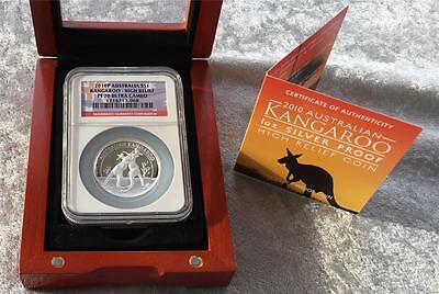 2010-P Australia $1 High Relief Silver Kangaroo Proof NGC PF70 UCAM Flag Label