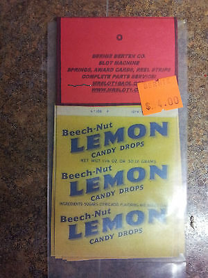 Repo Mint Wrappers For Antique Slot Machine Mw#25 Beech Nut Lemon 10 Pack