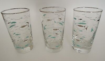 "Lot of 3 Vintage Libbey Turquoise Atomic Fish Glasses 4 3/4"" Tall MCM"