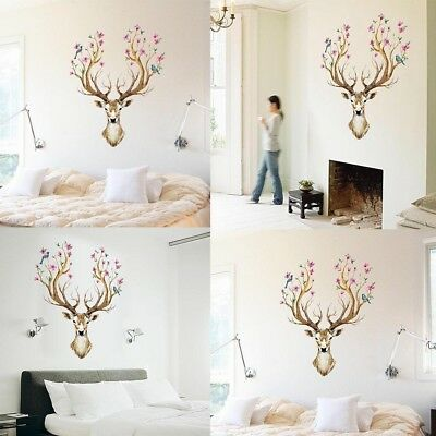Natural Color Elk Painting Wall Sticker Reindeer Removable Antlers Decor Birds